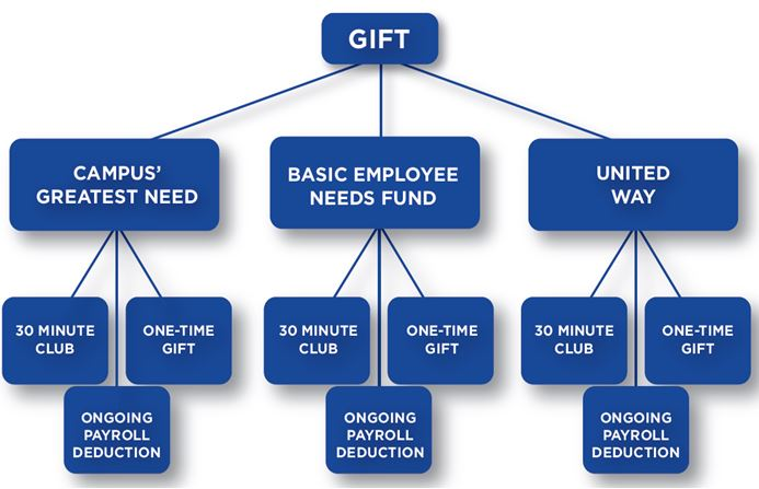 Flow chart explaining how an employee can select where their financial gift is given