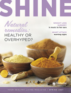 Spring 2021 Shine Magazine Cover featuring purple font and yellow spices